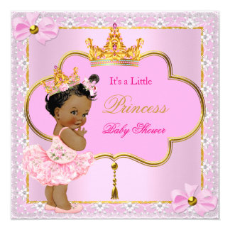 Princess Baby Shower Girl Pink Gold Ethnic 13 Cm X 13 Cm Square Invitation Card