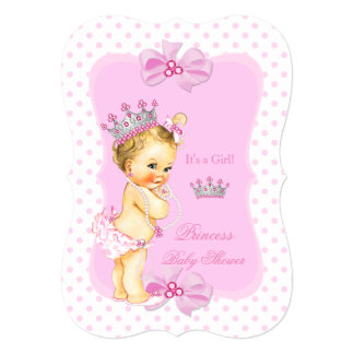 Princess Baby Shower Girl Pink Polka Dot Blonde 13 Cm X 18 Cm Invitation Card