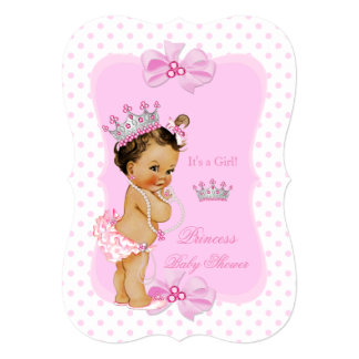 Princess Baby Shower Girl Pink Polka Dot Brunette 13 Cm X 18 Cm Invitation Card