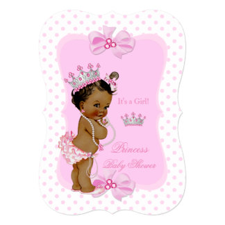 Princess Baby Shower Girl Pink Polka Dot Ethnic 13 Cm X 18 Cm Invitation Card