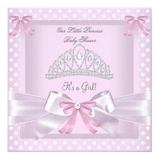 Princess Baby Shower Girl Pink Polka Dots Bow Custom Invites