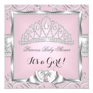 Princess Baby Shower Girl Pink Silver damask 13 Cm X 13 Cm Square Invitation Card
