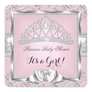 Princess Baby Shower Girl Pink Silver damask 13 Cm X 13 Cm Square Invitation Card