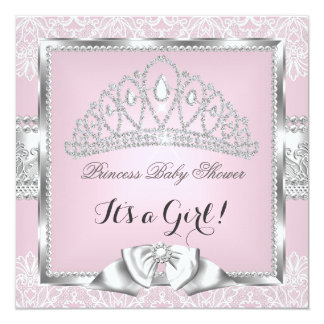 Princess Baby Shower Girl Pink Silver Lace 3 13 Cm X 13 Cm Square Invitation Card