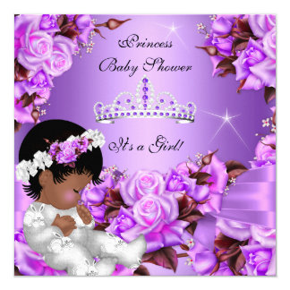 Princess Baby Shower Girl Purple Pink Rose Bow 2 13 Cm X 13 Cm Square Invitation Card