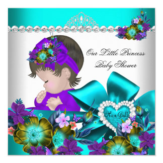 Princess Baby Shower Girl Purple Teal Blue 4 13 Cm X 13 Cm Square Invitation Card