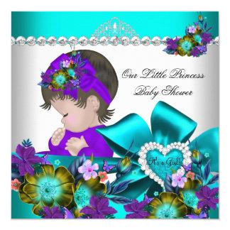 Princess Baby Shower Girl Purple Teal Blue 4 13 Cm X 13 Cm Square Invitation Card
