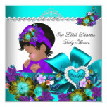 Princess Baby Shower Girl Teal Blue Purple 3 13 Cm X 13 Cm Square Invitation Card