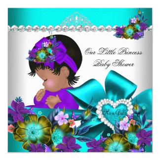 Princess Baby Shower Girl Teal Blue Purple 3 13 Cm X 13 Cm Square Invitation Card