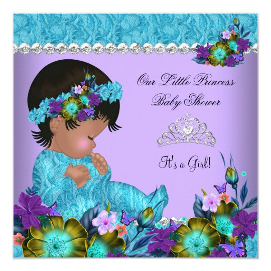 Princess Baby Shower Girl Teal Blue Purple Card