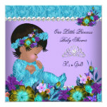 Princess Baby Shower Girl Teal Blue Purple 13 Cm X 13 Cm Square Invitation Card