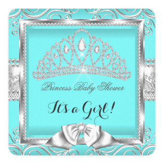 Princess Baby Shower Girl Teal Silver damask 5.25x5.25 Square Paper Invitation Card