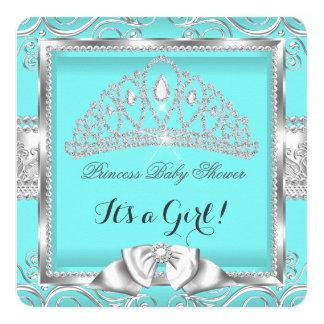 Princess Baby Shower Girl Teal Silver damask 13 Cm X 13 Cm Square Invitation Card