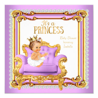 Princess Baby Shower Lilac Pink Gold Chair 13 Cm X 13 Cm Square Invitation Card