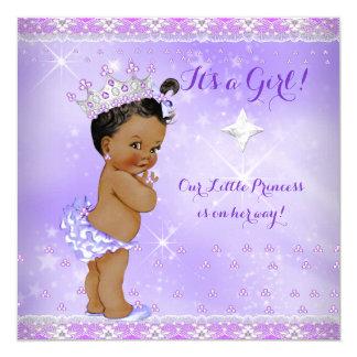 Princess Baby Shower Lilac Purple Lavender Ethnic 13 Cm X 13 Cm Square Invitation Card