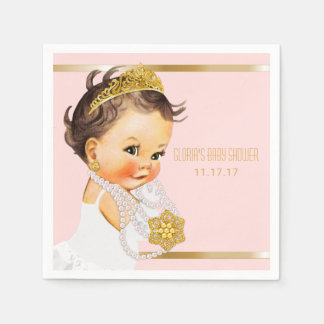Princess Baby Shower Personalized Blush Pink Gold Disposable Napkin