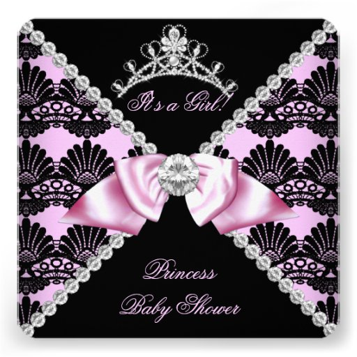 Princess Baby Shower Pink Black Lace Diamond Personalized Announcements
