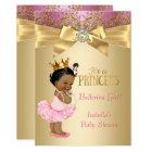 Princess Baby Shower Pink Gold Ballerina Ethnic Card