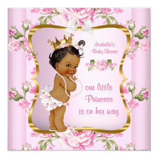 Princess Baby Shower Pink Gold Floral Ethnic 13 Cm X 13 Cm Square Invitation Card
