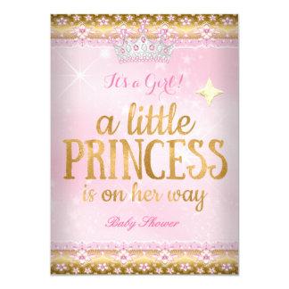 Princess Baby Shower Pink Gold Foil Lace Tiara 11 Cm X 16 Cm Invitation Card