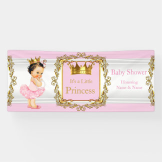 Princess Baby Shower Pink Gold White Brunette Baby Banner