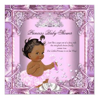 Princess Baby Shower Pink Purple Tutu Ethnic 13 Cm X 13 Cm Square Invitation Card