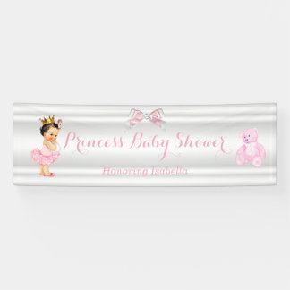 Princess Baby Shower Pink White Brunette Baby