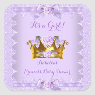 Princess Baby Shower Purple Rose Lavender Lace Square Sticker