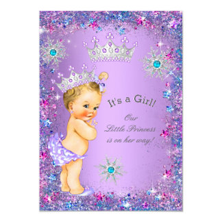 Princess Baby Shower Purple Teal Blue Pink Blonde Card