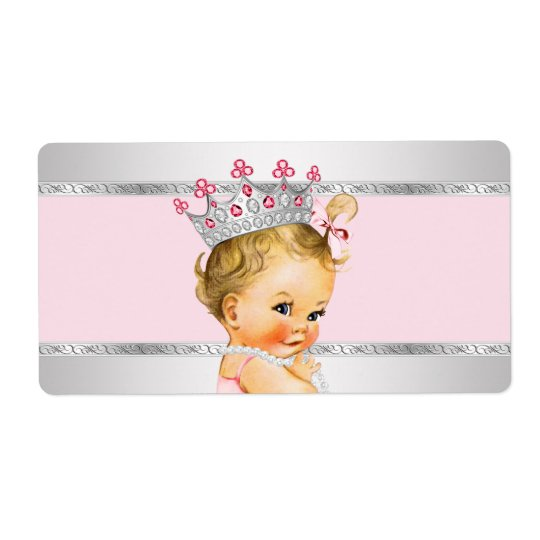 Princess Baby Shower Water Bottle Label Shipping Label