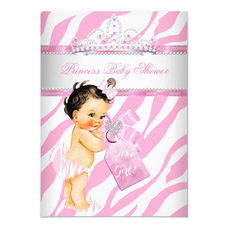 Princess Baby Shower Zebra Pink Brunette Girl Card