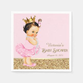 Princess Ballerina Pink Gold Baby Shower Disposable Serviette