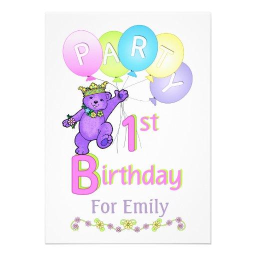 Princess Bear 1st Birthday Party Custom Name Card