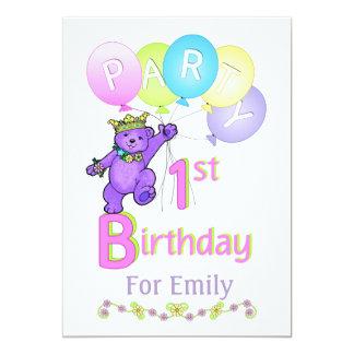Princess Bear 1st Birthday Party Custom Name 5x7 Paper Invitation Card