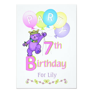 Princess Bear 7th Birthday Party Custom Name 13 Cm X 18 Cm Invitation Card