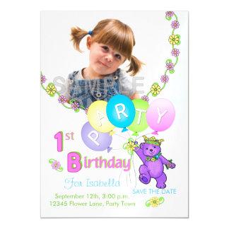 Princess Bear Custom 1st Birthday Party Magnetic Invitations