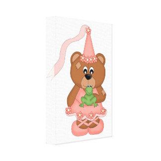Princess Bear peach Gallery Wrapped Canvas