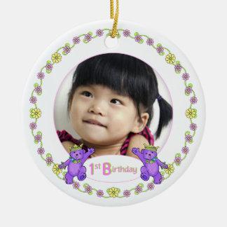 Princess Bears 1st Birthday Photo Keepsake Ceramic Ornament