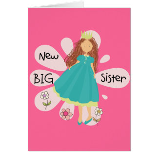 Princess Big Sister Brown Hair Stationery Note Card