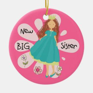 Princess Big Sister Brown Hair Round Ceramic Decoration
