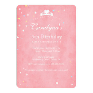 Princess Birthday Invitation Pink Fairy Dust III