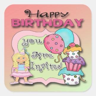 Princess Birthday Party Invitation envelope seal Square Sticker