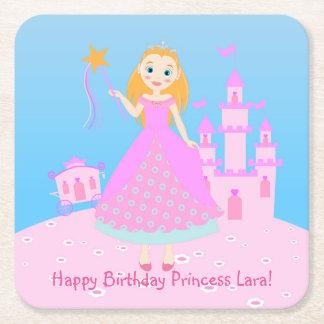 Princess Birthday Party Square Paper Coaster