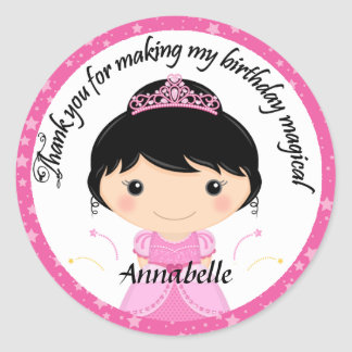 Princess Birthday Party Thank You Classic Round Sticker