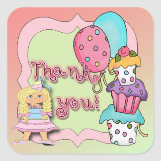 Princess Birthday Party Thank You envelope seal Square Sticker