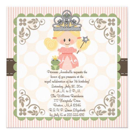 Princess Birthday Photo Invitations Blonde
