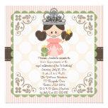 Princess Birthday Photo Invitations Card Brunette