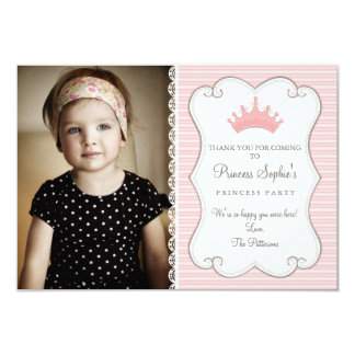 Princess Birthday Photo Thank You Card Personalized Announcement