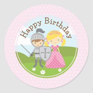 Princess blond and Knight 2inch circle sticker