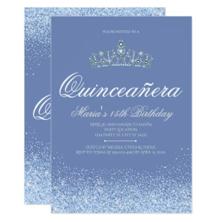 Princess Blue  Glitter Quinceanera Invitations